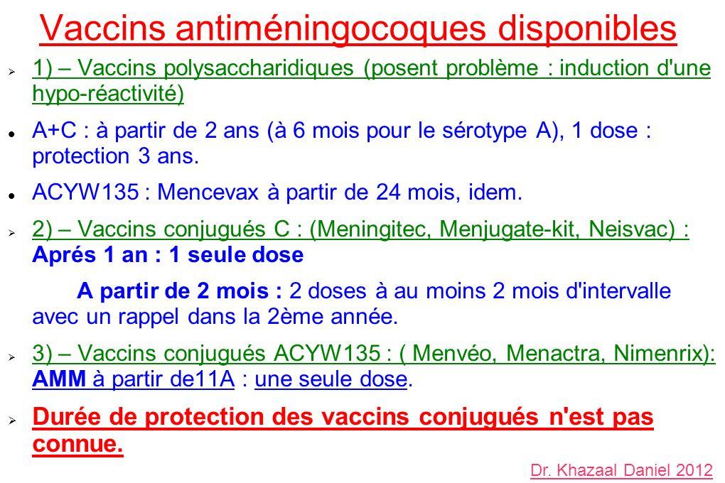 Vaccins antiméningocoques disponibles 1) – Vaccins polysaccharidiques (posent problème : induction d une hypo-réactivité) A+C : à partir de 2 ans (à 6 mois pour le sérotype A), 1 dose : protection 3 ans.