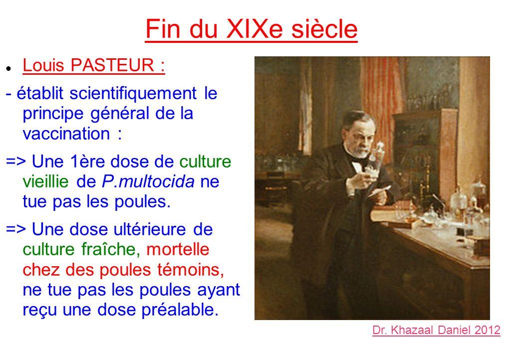 Fin du XIXe siècle Louis PASTEUR : - établit scientifiquement le principe général de la vaccination : => Une 1ère dose de culture vieillie de P.multocida ne tue pas les poules.
