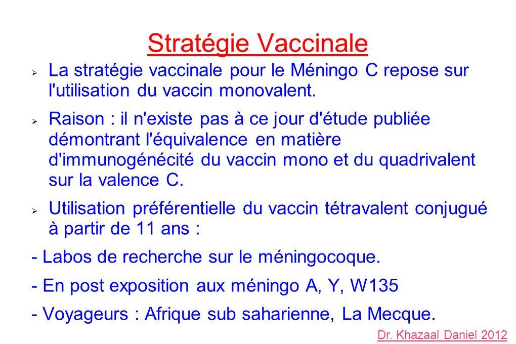 Stratégie Vaccinale La stratégie vaccinale pour le Méningo C repose sur l'utilisation du vaccin monovalent. Raison : il n'existe pas à ce jour d'étude