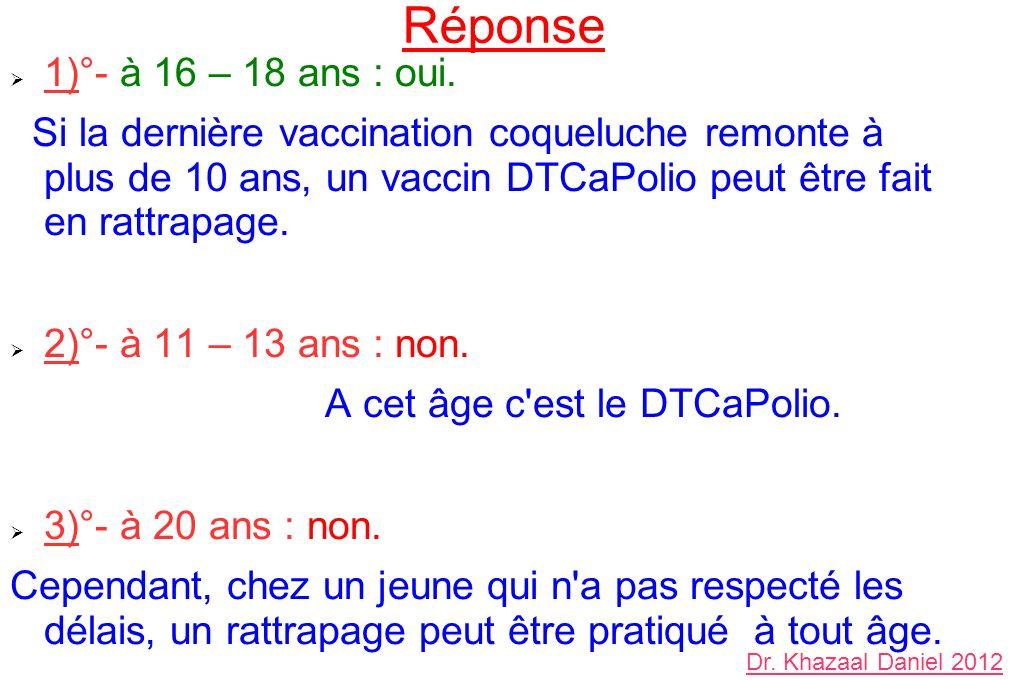 Réponse 1)°- à 16 – 18 ans : oui. Si la dernière vaccination coqueluche remonte à plus de 10 ans, un vaccin DTCaPolio peut être fait en rattrapage. 2)