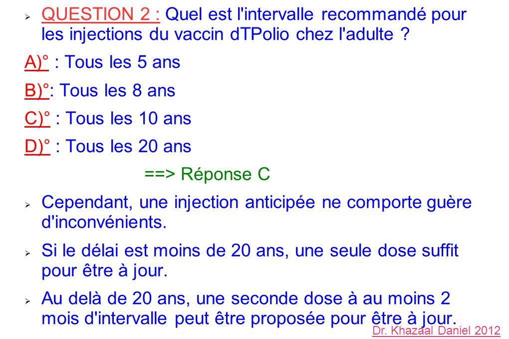 QUESTION 2 : Quel est l'intervalle recommandé pour les injections du vaccin dTPolio chez l'adulte ? A)° : Tous les 5 ans B)°: Tous les 8 ans C)° : Tou
