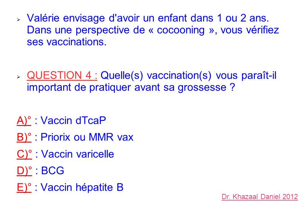 Valérie envisage d'avoir un enfant dans 1 ou 2 ans. Dans une perspective de « cocooning », vous vérifiez ses vaccinations. QUESTION 4 : Quelle(s) vacc