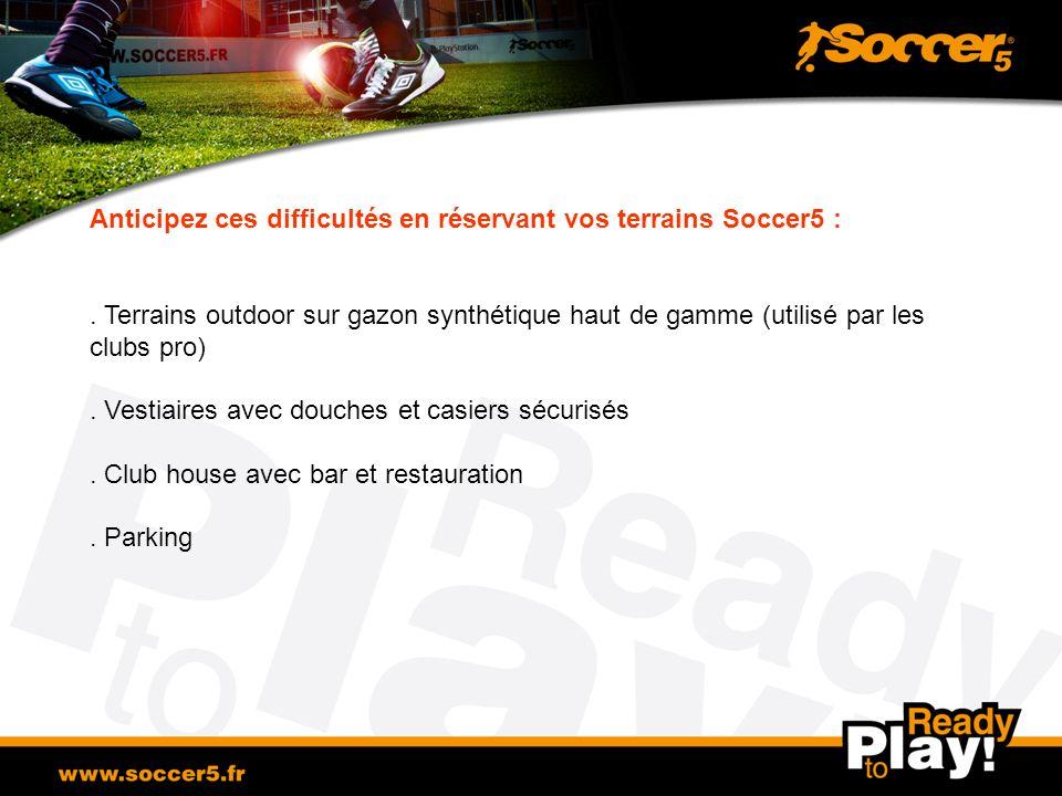 Anticipez ces difficultés en réservant vos terrains Soccer5 :. Terrains outdoor sur gazon synthétique haut de gamme (utilisé par les clubs pro). Vesti