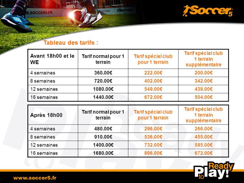 Tableau des tarifs : Avant 18h00 et le WE Tarif normal pour 1 terrain Tarif spécial club pour 1 terrain Tarif spécial club 1 terrain supplémentaire 4