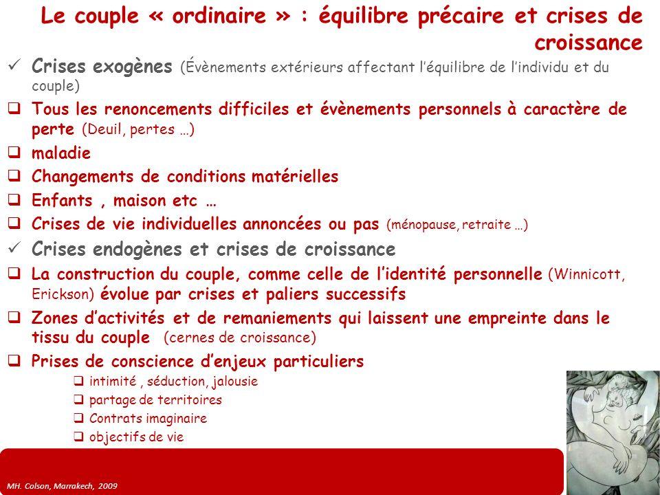 MH. Colson, Marrakech, 2009 Le couple « ordinaire » : équilibre précaire et crises de croissance Crises exogènes (Évènements extérieurs affectant léqu