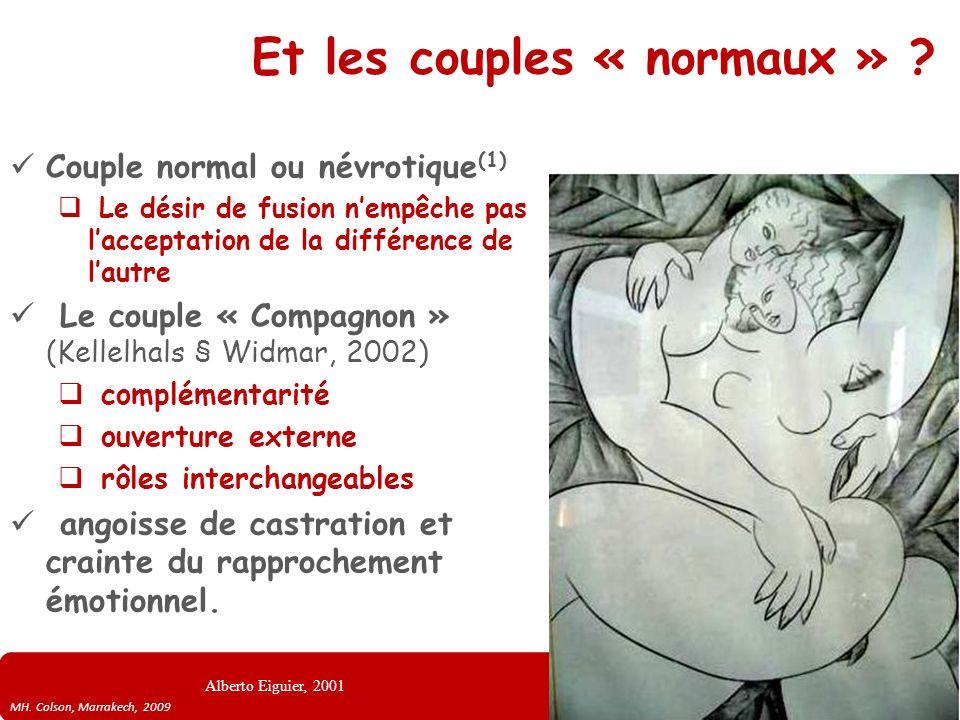 MH. Colson, Marrakech, 2009 Et les couples « normaux » ? Couple normal ou névrotique (1) Le désir de fusion nempêche pas lacceptation de la différence