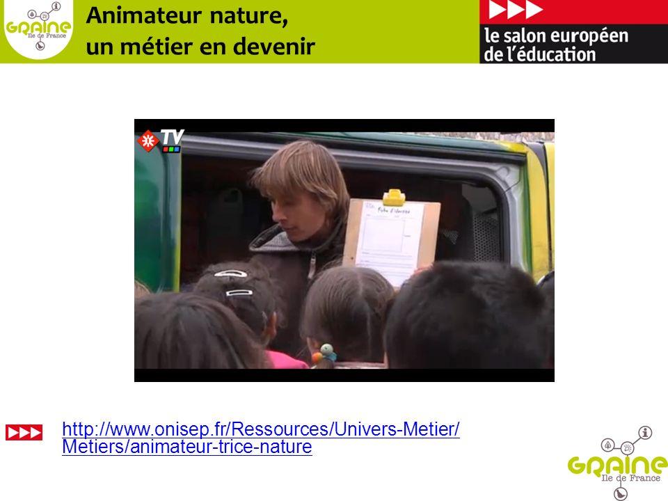 Des métiers Animateur nature environnement Éducateur nature environnement Coordonnateur de projets en éducation à lenvironnement Animateur de réseau déducation environnement 4 fiches métiers publiées en 2013 : réalisées par le Réseau Ecole et Nature en partenariat avec le CNAR Environnement.
