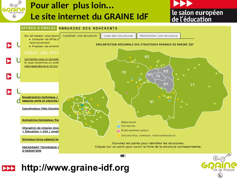 TEE Île-de-France – Observatoire francilien des métiers de léconomie verte : http://www.tee-idf.net/emploishttp://www.tee-idf.net/emplois Emploi & métiers verts : http://www.scoop.it/t/emploi-ess- environnementhttp://www.scoop.it/t/emploi-ess- environnement LAtelier – Centre de ressources régional de lESS : http://www.atelier-idf.org/ http://www.atelier-idf.org/ Les métiers de la Biodiversité : http://www.metiers- biodiversite.fr/metiers/ficheshttp://www.metiers- biodiversite.fr/metiers/fiches Réseau Ecole et Nature : http://reseauecoleetnature.org/offres- demploi.htmlhttp://reseauecoleetnature.org/offres- demploi.html Pour aller encore plus loin…