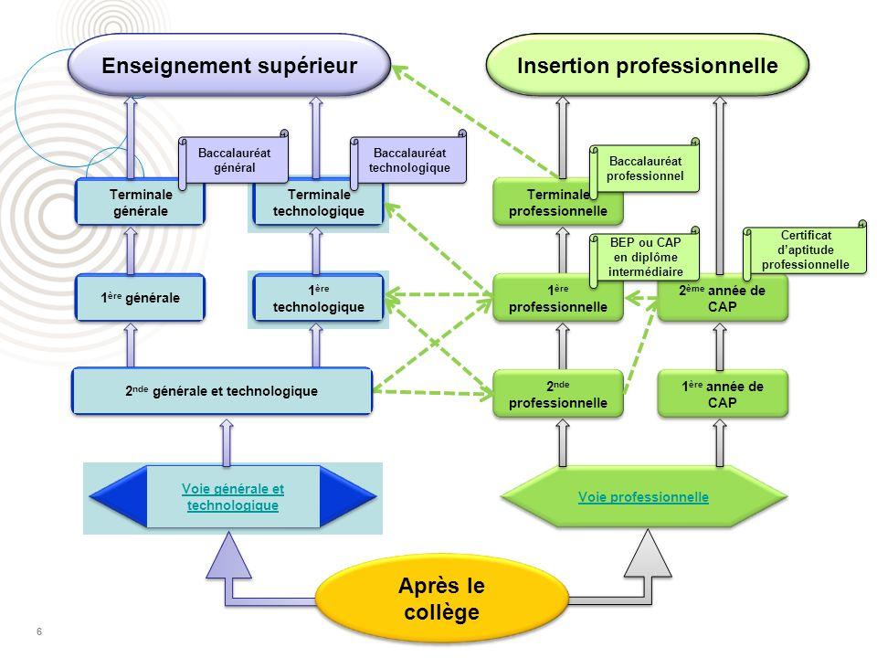 7 Organisation de la voie professionnelle La 2 de professionnelle permet d aborder un champ professionnel (assez large) ou une filière (plus spécialisée).