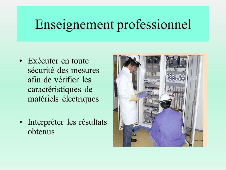 Enseignement professionnel Exécuter en toute sécurité des mesures afin de vérifier les caractéristiques de matériels électriques Interpréter les résul