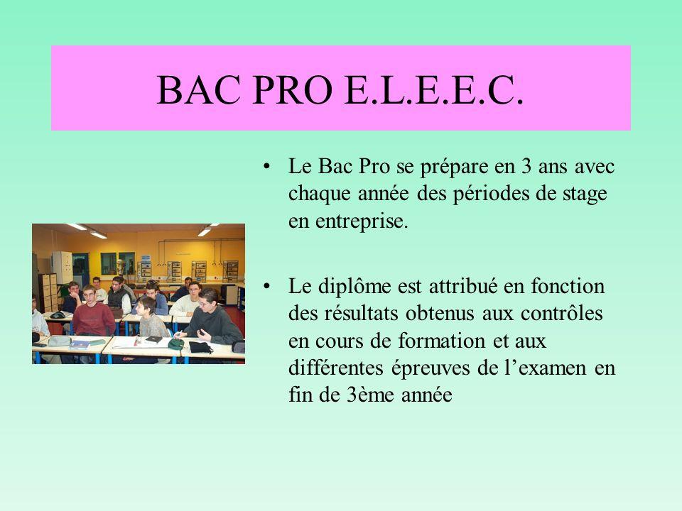 CERTIFICATION BEP ELEEC La certification BEP ELEEC est délivrée en 2 ème année Bac Pro en fonction : Dune réalisation effectuée en entreprise pendant la période de stage de la 1 ère année Bac Pro Dune réalisation effectuée pendant la 2 ème année Bac Pro Dune épreuve professionnelle écrite