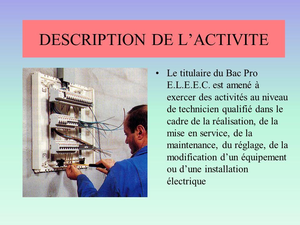 DESCRIPTION DE LACTIVITE Le titulaire du Bac Pro E.L.E.E.C. est amené à exercer des activités au niveau de technicien qualifié dans le cadre de la réa