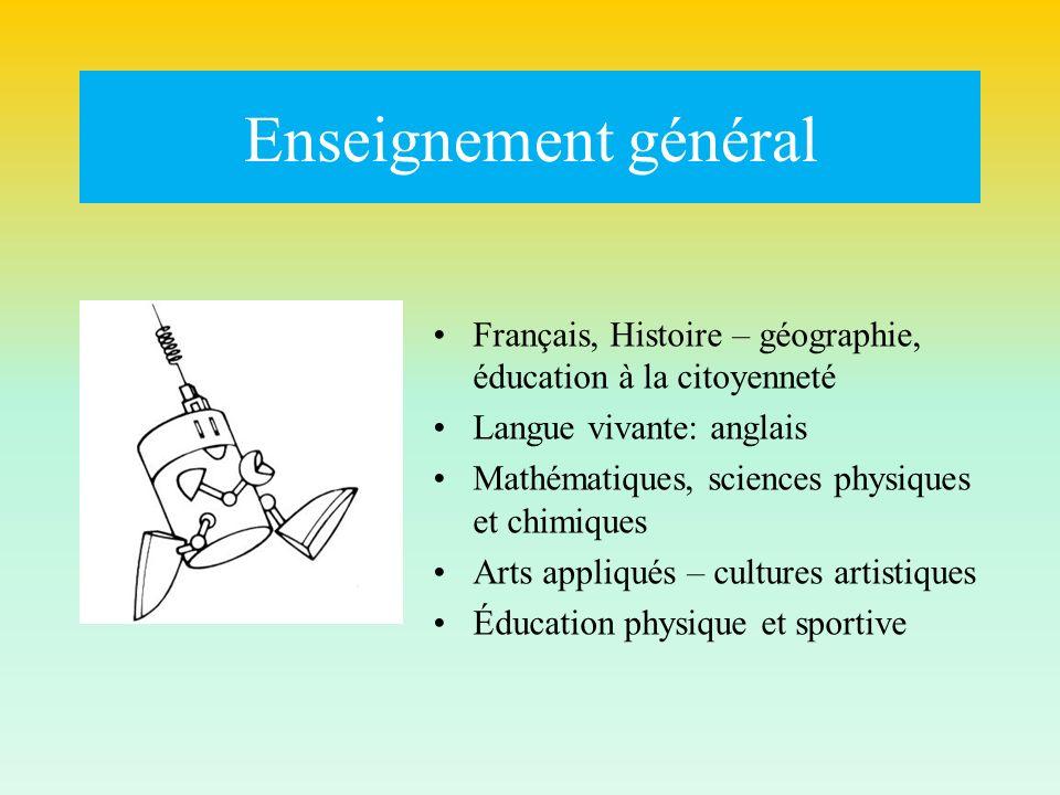 Enseignement général Français, Histoire – géographie, éducation à la citoyenneté Langue vivante: anglais Mathématiques, sciences physiques et chimique