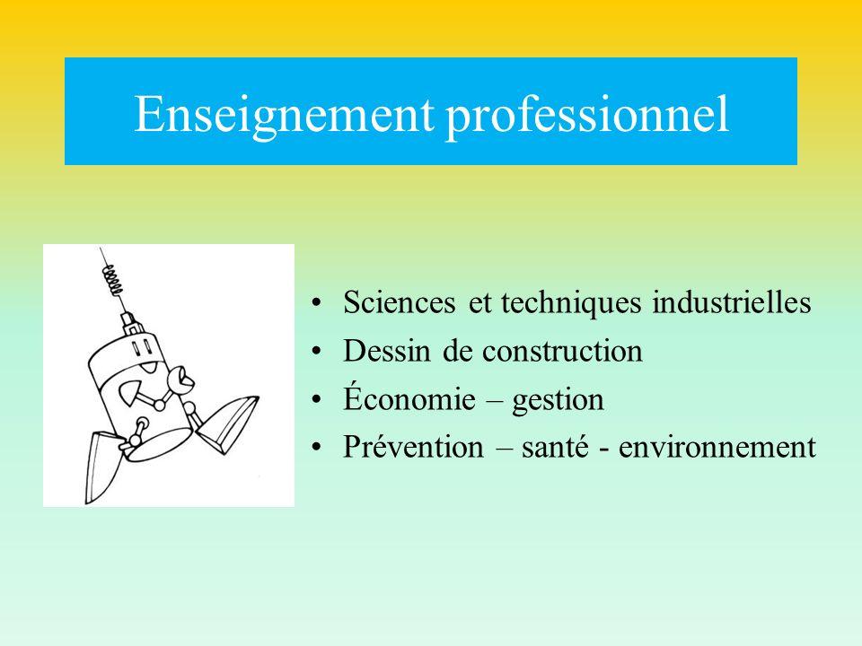 Enseignement professionnel Sciences et techniques industrielles Dessin de construction Économie – gestion Prévention – santé - environnement