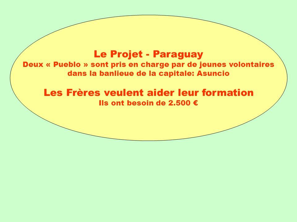 Le Projet - Paraguay Deux « Pueblo » sont pris en charge par de jeunes volontaires dans la banlieue de la capitale: Asuncio Les Frères veulent aider leur formation Ils ont besoin de 2.500