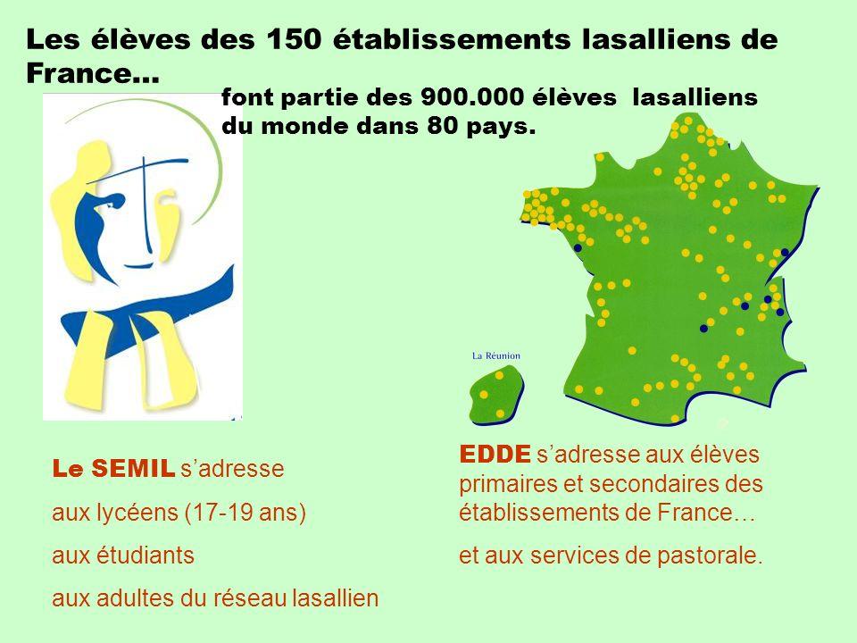 Les élèves des 150 établissements lasalliens de France… font partie des 900.000 élèves lasalliens du monde dans 80 pays. Le SEMIL sadresse aux lycéens