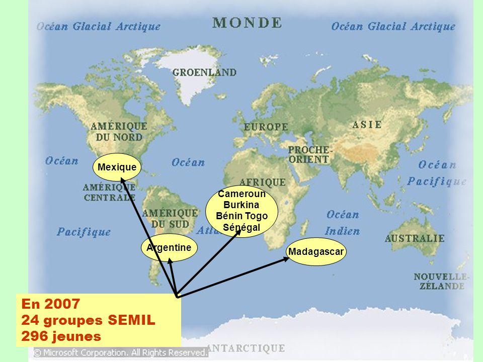 En 2007 24 groupes SEMIL 296 jeunes Mexique Argentine Cameroun Burkina Bénin Togo Sénégal Madagascar
