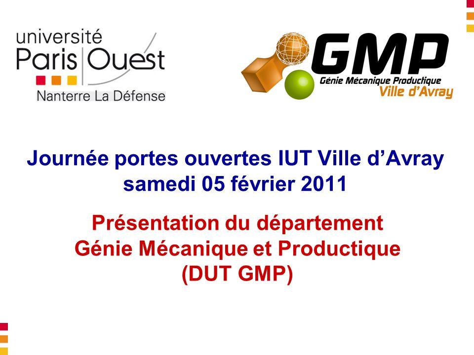 Journée portes ouvertes IUT Ville dAvray samedi 05 février 2011 Présentation du département Génie Mécanique et Productique (DUT GMP)