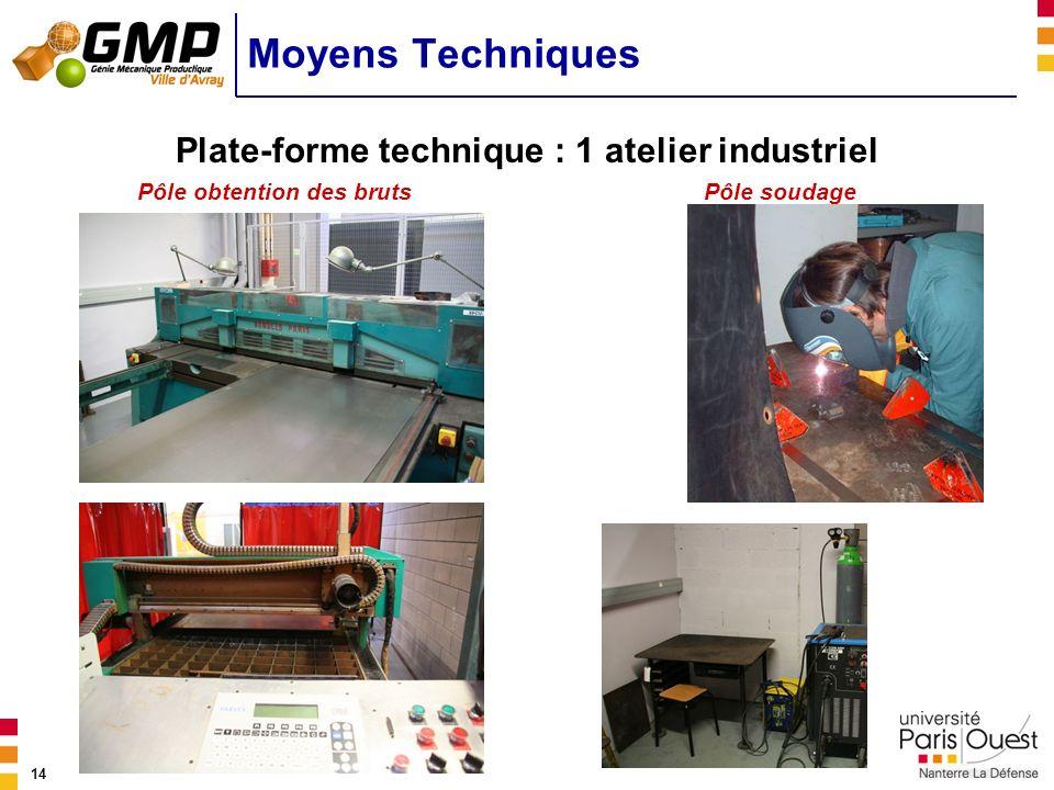 14 Plate-forme technique : 1 atelier industriel Moyens Techniques Pôle obtention des brutsPôle soudage