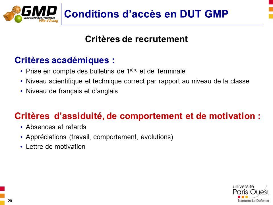 20 Conditions daccès en DUT GMP Critères de recrutement Critères académiques : Prise en compte des bulletins de 1 ière et de Terminale Niveau scientif
