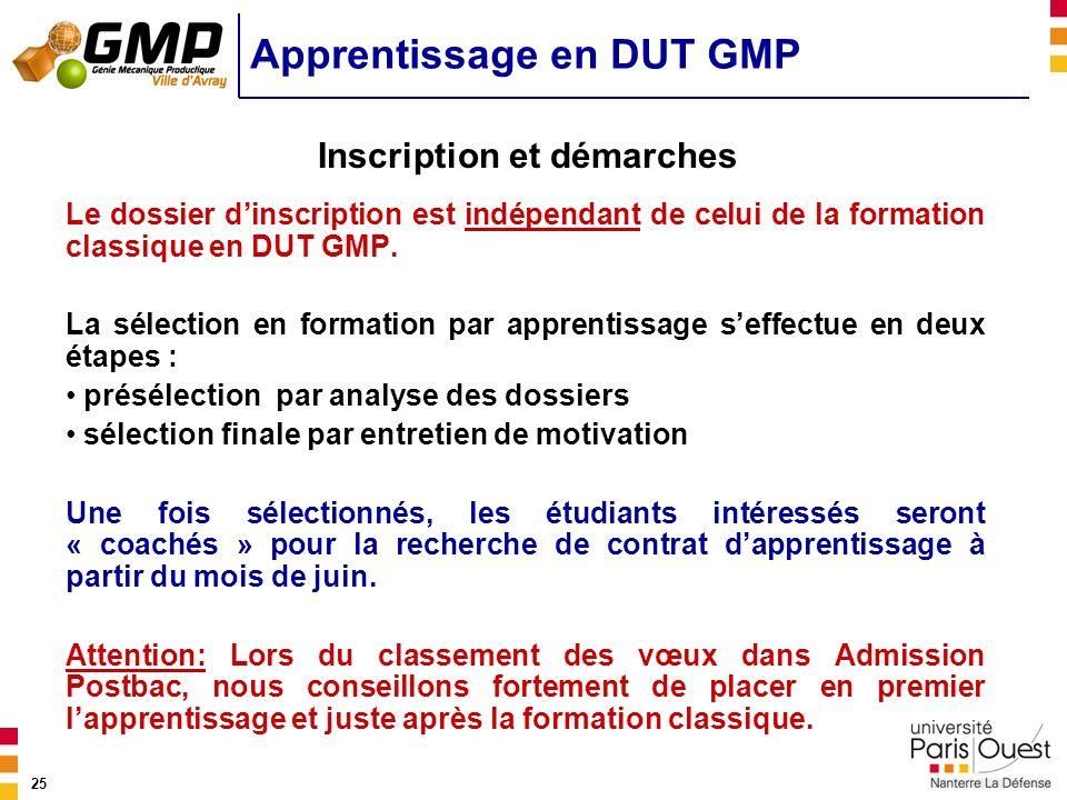 25 Apprentissage en DUT GMP Le dossier dinscription est indépendant de celui de la formation classique en DUT GMP. La sélection en formation par appre