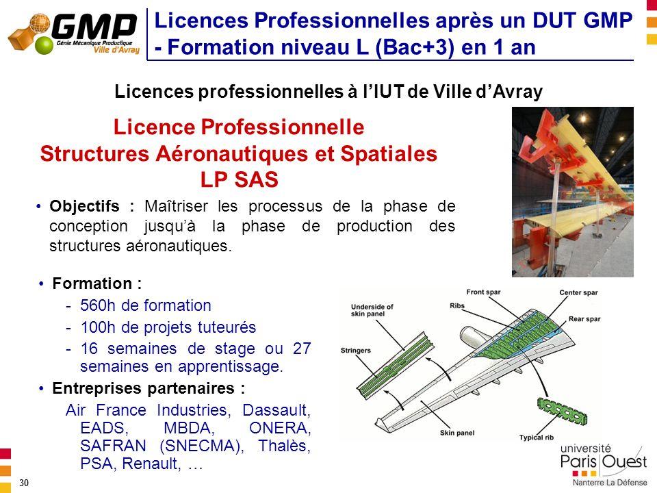 30 Licences Professionnelles après un DUT GMP - Formation niveau L (Bac+3) en 1 an Licence Professionnelle Structures Aéronautiques et Spatiales LP SA