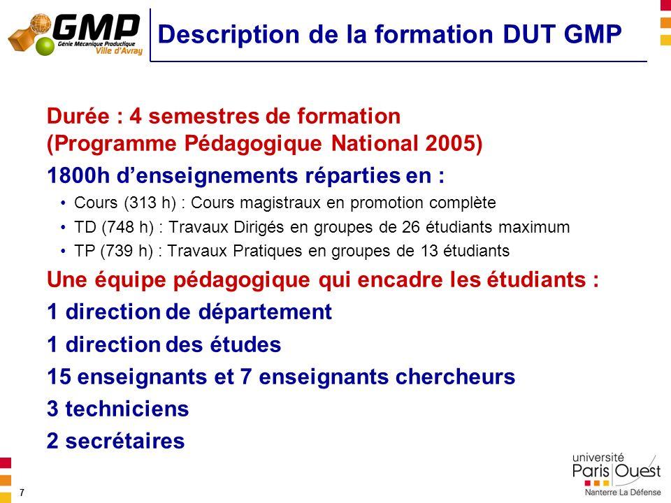 7 Description de la formation DUT GMP Durée : 4 semestres de formation (Programme Pédagogique National 2005) 1800h denseignements réparties en : Cours