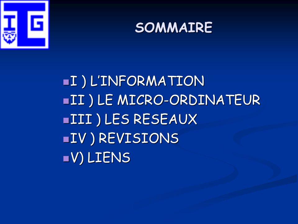 I ) LINFORMATION 1) LInformation : représentations informatiques 1) LInformation : représentations informatiques 2) LInformation : autres représentations 2) LInformation : autres représentations 3) Exercices de conversion 3) Exercices de conversion 4) Annexes 4) Annexes