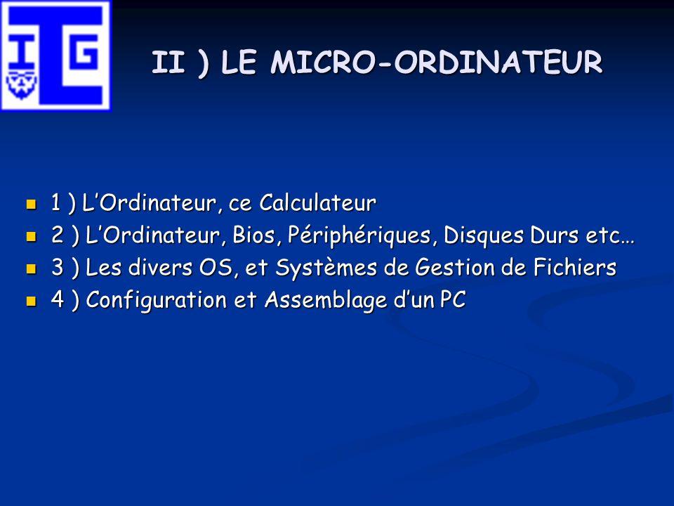 II ) LE MICRO-ORDINATEUR 1 ) LOrdinateur, ce Calculateur 1 ) LOrdinateur, ce Calculateur 2 ) LOrdinateur, Bios, Périphériques, Disques Durs etc… 2 ) L