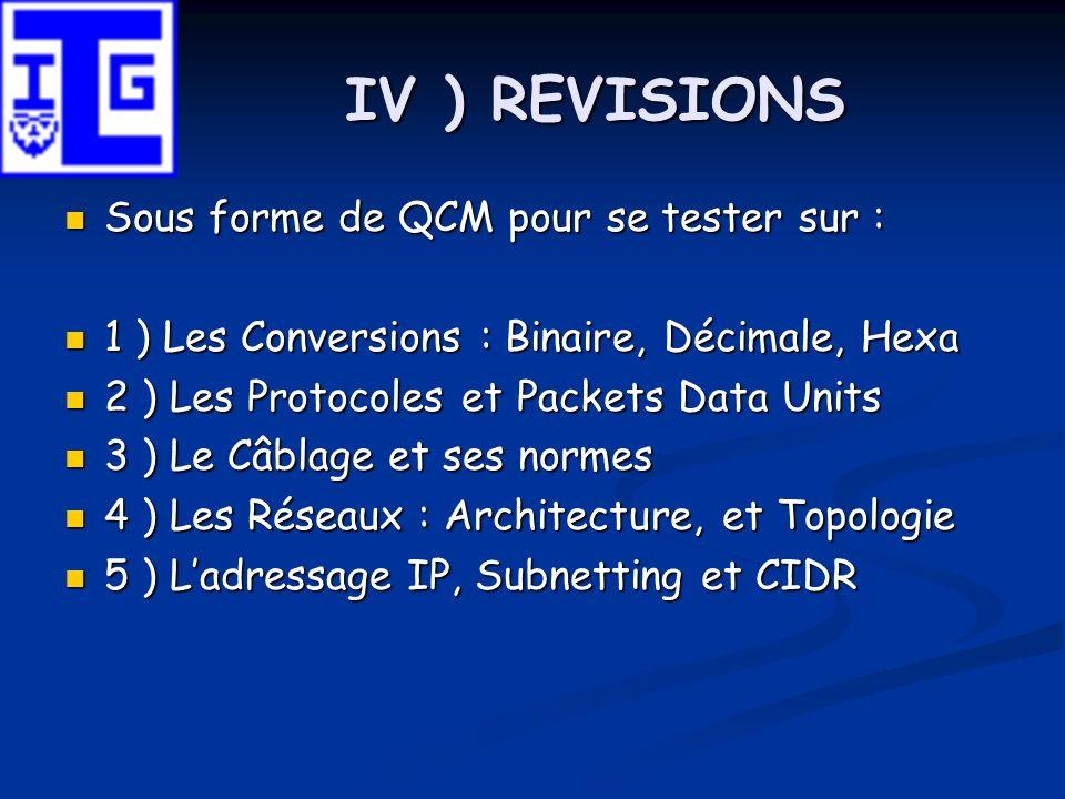 IV ) REVISIONS Sous forme de QCM pour se tester sur : Sous forme de QCM pour se tester sur : 1 ) Les Conversions : Binaire, Décimale, Hexa 1 ) Les Con