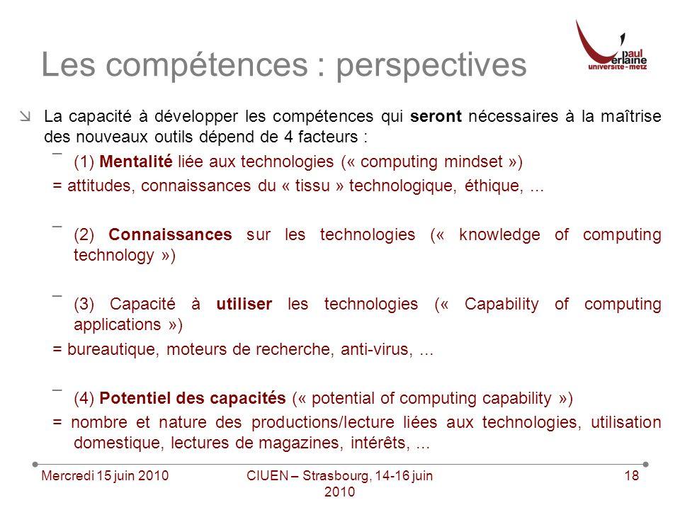 La capacité à développer les compétences qui seront nécessaires à la maîtrise des nouveaux outils dépend de 4 facteurs : ¯(1) Mentalité liée aux technologies (« computing mindset ») = attitudes, connaissances du « tissu » technologique, éthique,...