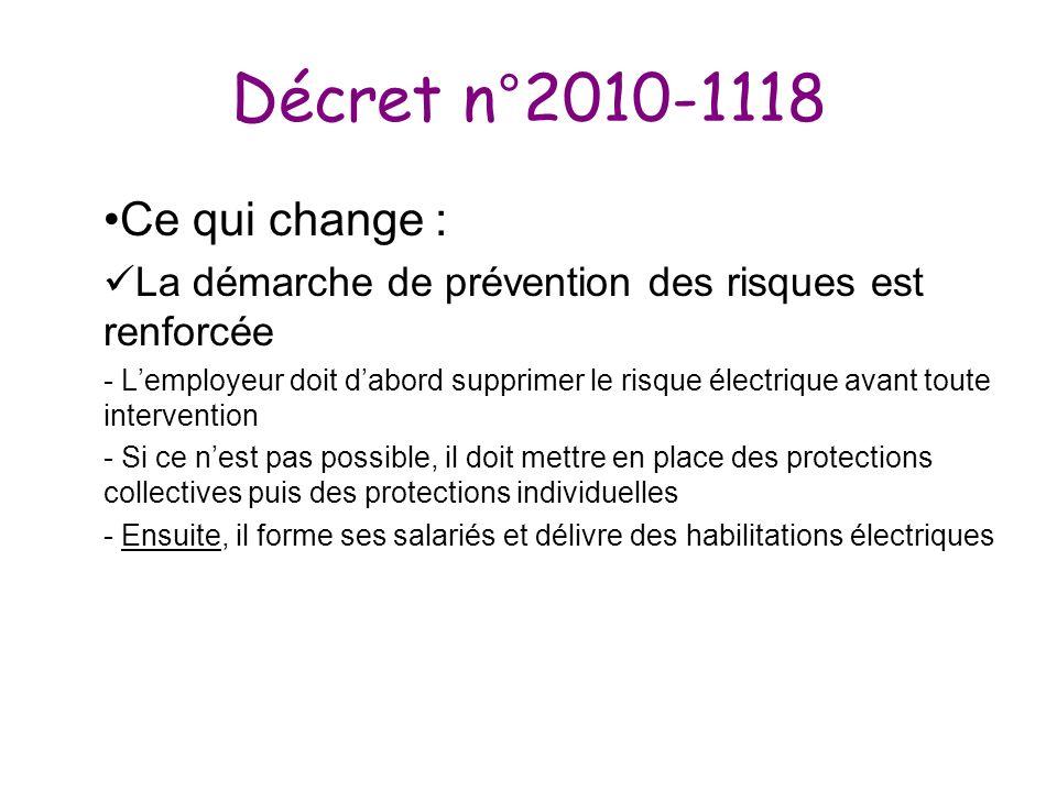 Décret n°2010-1118 Ce qui change : La démarche de prévention des risques est renforcée - Lemployeur doit dabord supprimer le risque électrique avant t