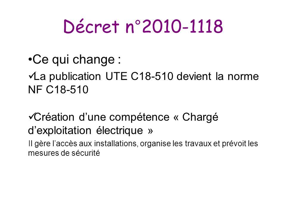Décret n°2010-1118 Ce qui change : La publication UTE C18-510 devient la norme NF C18-510 Création dune compétence « Chargé dexploitation électrique »