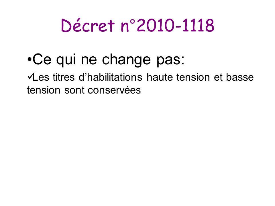 Décret n°2010-1118 Ce qui ne change pas: Les titres dhabilitations haute tension et basse tension sont conservées