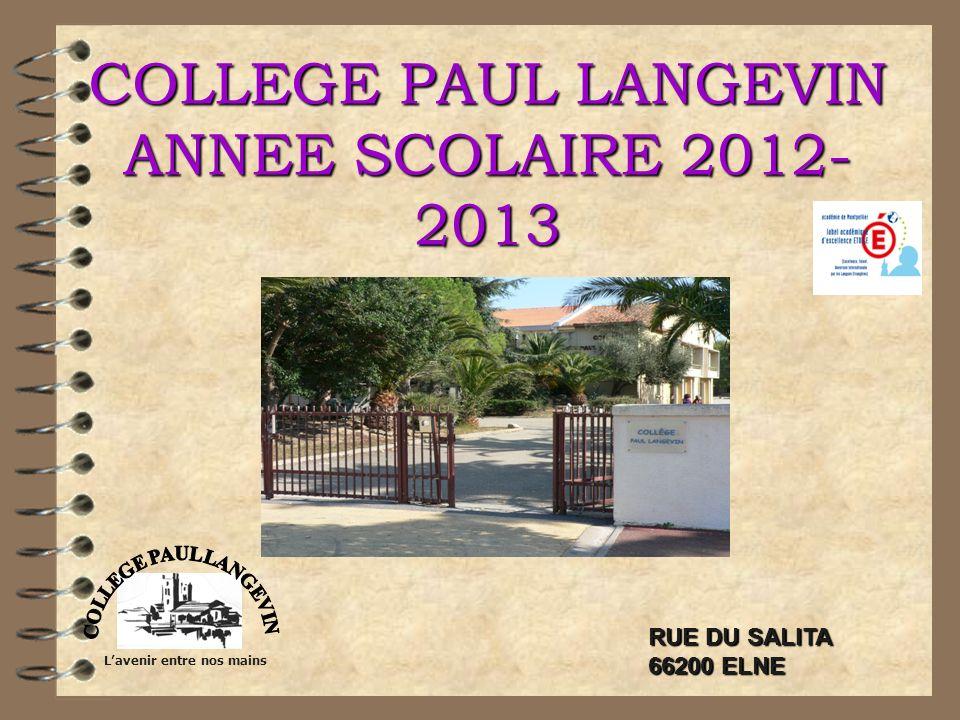 COLLEGE PAUL LANGEVIN ANNEE SCOLAIRE 2012- 2013 Lavenir entre nos mains RUE DU SALITA 66200 ELNE