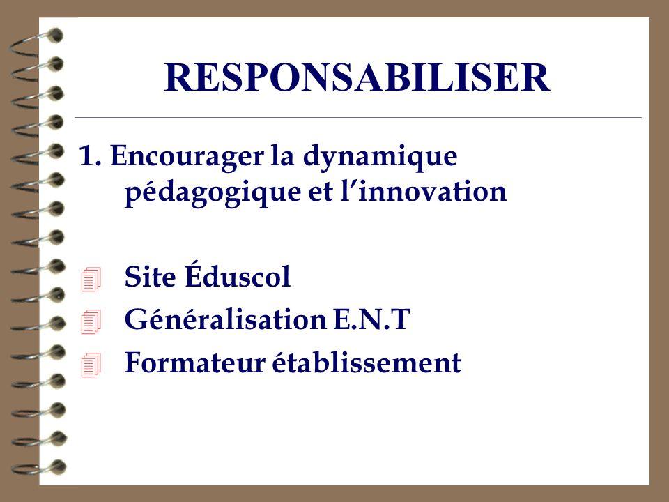1. Encourager la dynamique pédagogique et linnovation 4 Site Éduscol 4 Généralisation E.N.T 4 Formateur établissement