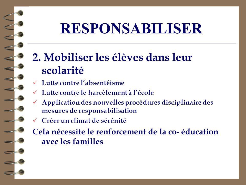 RESPONSABILISER 2. Mobiliser les élèves dans leur scolarité Lutte contre labsentéisme Lutte contre le harcèlement à lécole Application des nouvelles p