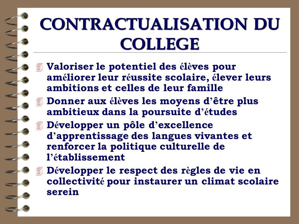 CONTRACTUALISATION DU COLLEGE 4 Valoriser le potentiel des é l è ves pour am é liorer leur r é ussite scolaire, é lever leurs ambitions et celles de l