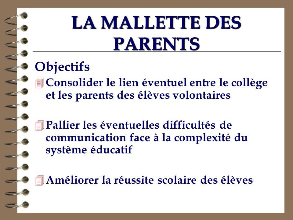 LA MALLETTE DES PARENTS Objectifs 4 Consolider le lien éventuel entre le collège et les parents des élèves volontaires 4 Pallier les éventuelles diffi