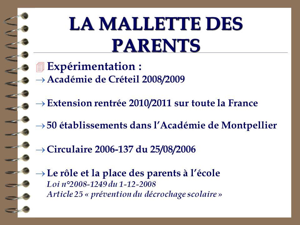 LA MALLETTE DES PARENTS 4 Expérimentation : Académie de Créteil 2008/2009 Extension rentrée 2010/2011 sur toute la France 50 établissements dans lAcad