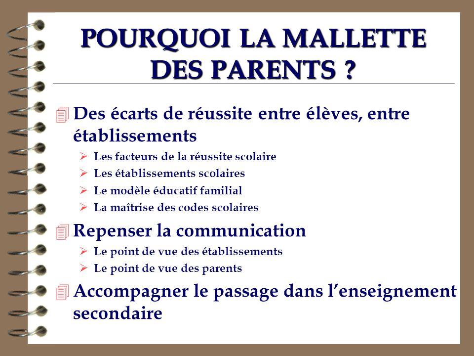 POURQUOI LA MALLETTE DES PARENTS ? 4 Des écarts de réussite entre élèves, entre établissements Les facteurs de la réussite scolaire Les établissements