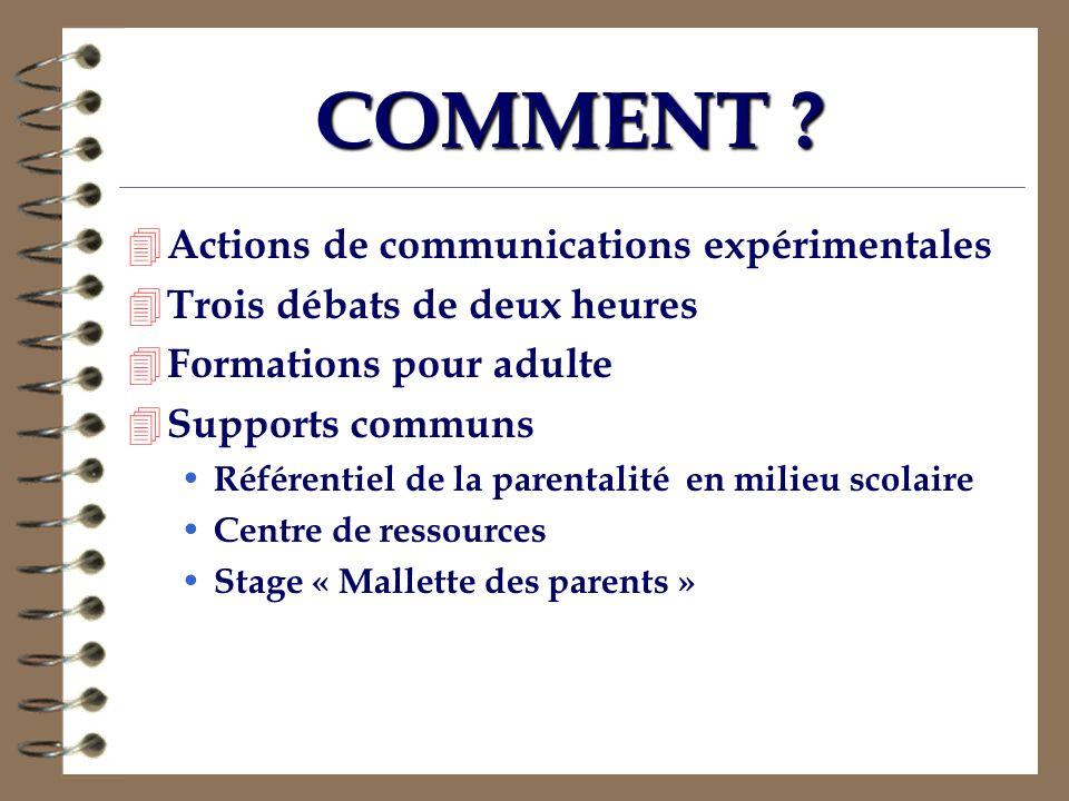 COMMENT ? 4 Actions de communications expérimentales 4 Trois débats de deux heures 4 Formations pour adulte 4 Supports communs Référentiel de la paren