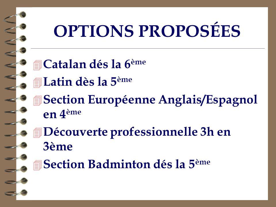 OPTIONS PROPOSÉES 4 Catalan dés la 6 ème 4 Latin dès la 5 ème 4 Section Européenne Anglais/Espagnol en 4 ème 4 Découverte professionnelle 3h en 3ème 4