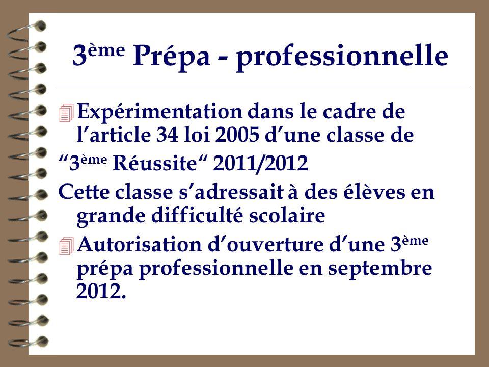3 ème Prépa - professionnelle 4 Expérimentation dans le cadre de larticle 34 loi 2005 dune classe de 3 ème Réussite 2011/2012 Cette classe sadressait
