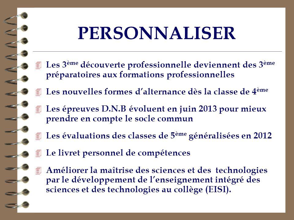 PERSONNALISER 4 Les 3 ème découverte professionnelle deviennent des 3 ème préparatoires aux formations professionnelles 4 Les nouvelles formes daltern