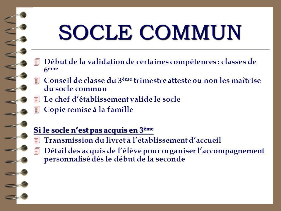 SOCLE COMMUN 4 Début de la validation de certaines compétences : classes de 6 ème 4 Conseil de classe du 3 ème trimestre atteste ou non les maîtrise d