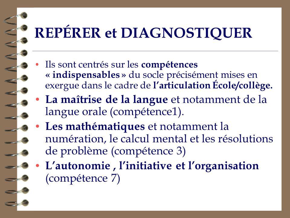 REPÉRER et DIAGNOSTIQUER Ils sont centrés sur les compétences « indispensables » du socle précisément mises en exergue dans le cadre de larticulation
