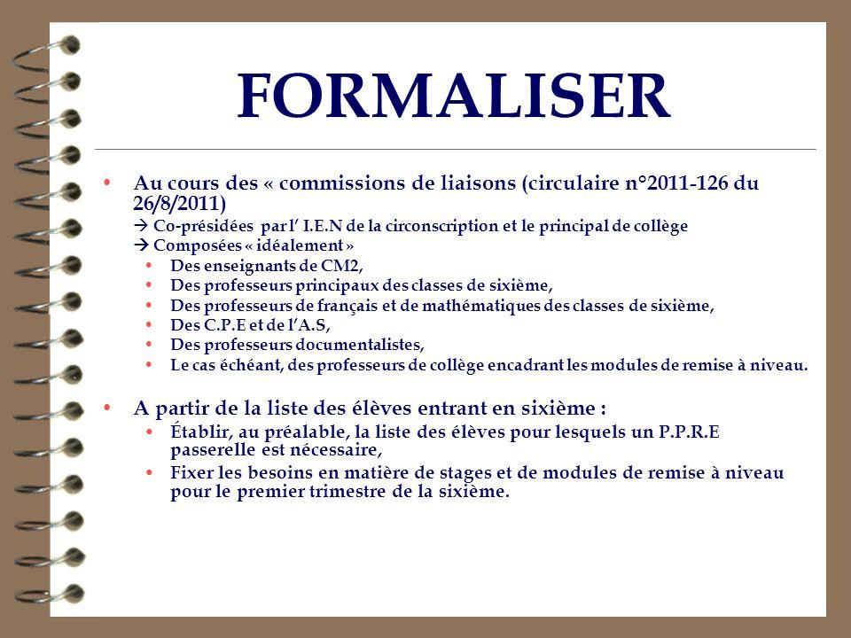 FORMALISER Au cours des « commissions de liaisons (circulaire n°2011-126 du 26/8/2011) Co-présidées par l I.E.N de la circonscription et le principal