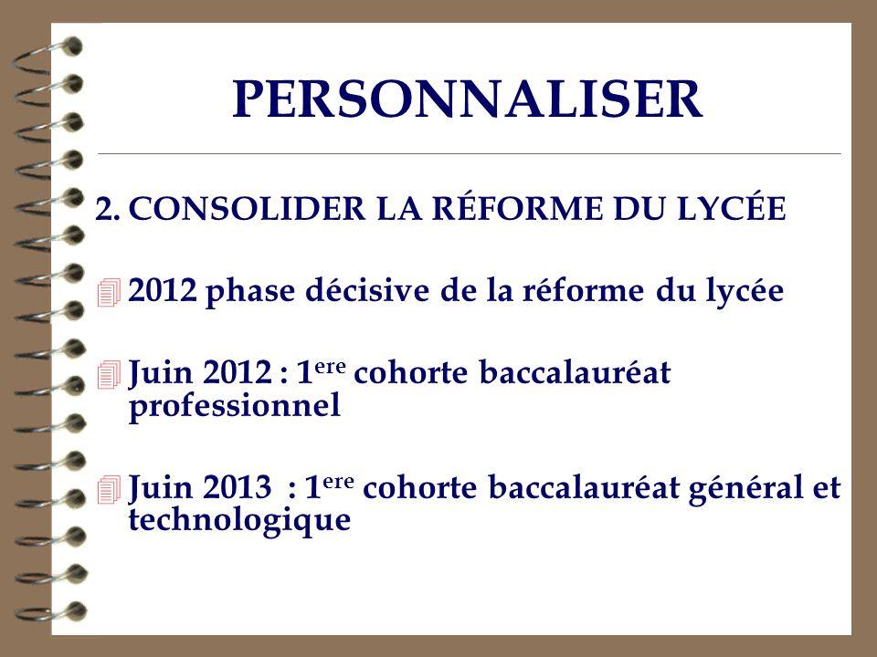PERSONNALISER 2. CONSOLIDER LA RÉFORME DU LYCÉE 4 2012 phase décisive de la réforme du lycée 4 Juin 2012 : 1 ere cohorte baccalauréat professionnel 4