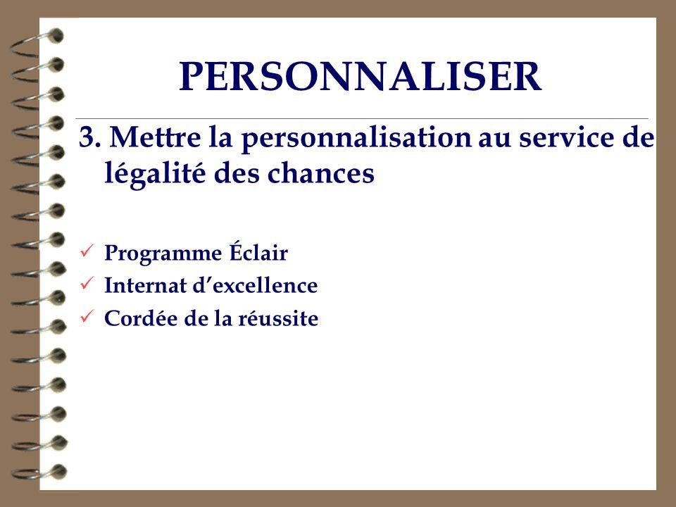 PERSONNALISER 3. Mettre la personnalisation au service de légalité des chances Programme Éclair Internat dexcellence Cordée de la réussite
